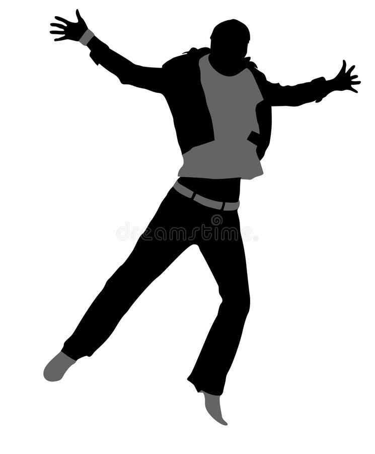 Springend mensensilhouet stock illustratie