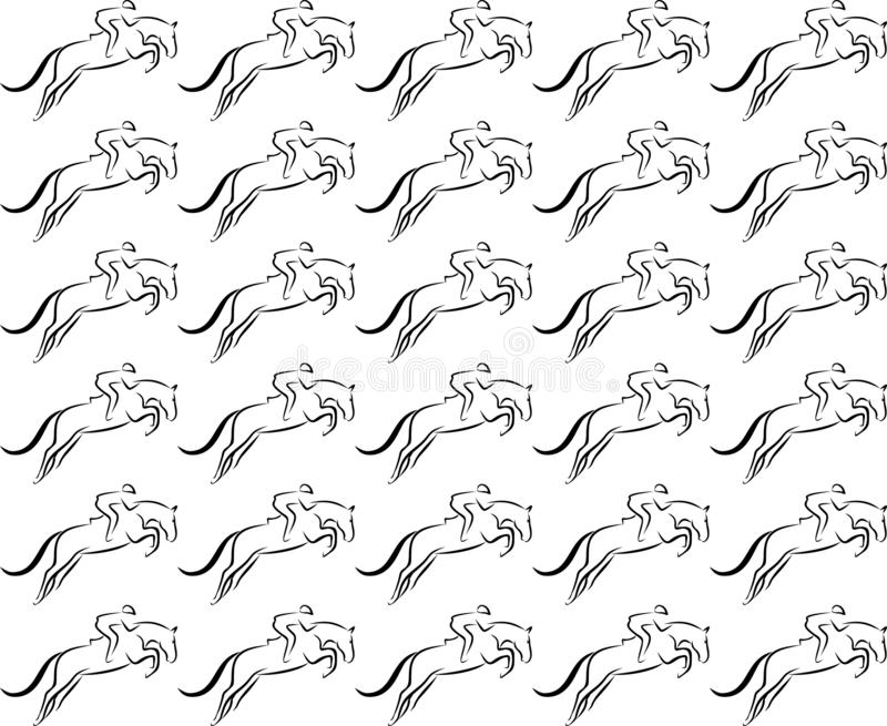 Springend paard naadloos vectorpatroon royalty-vrije illustratie