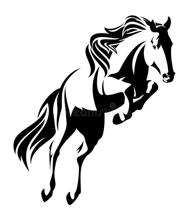 Springend paard zwart-wit vectorontwerp stock illustratie