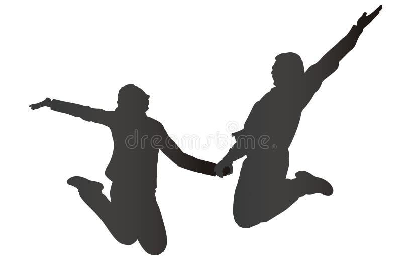 Springend paarsilhouet vector illustratie