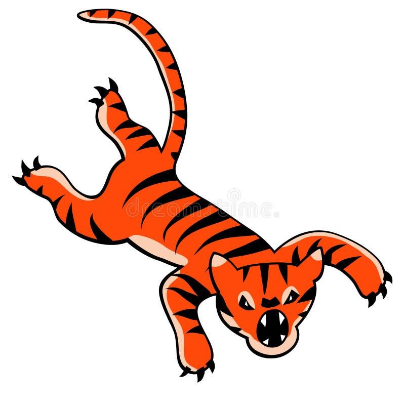 Springend tijgerbeeldverhaal vector illustratie