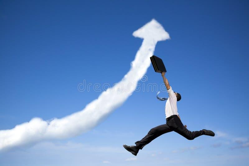 Springende bedrijfsmens stock foto's