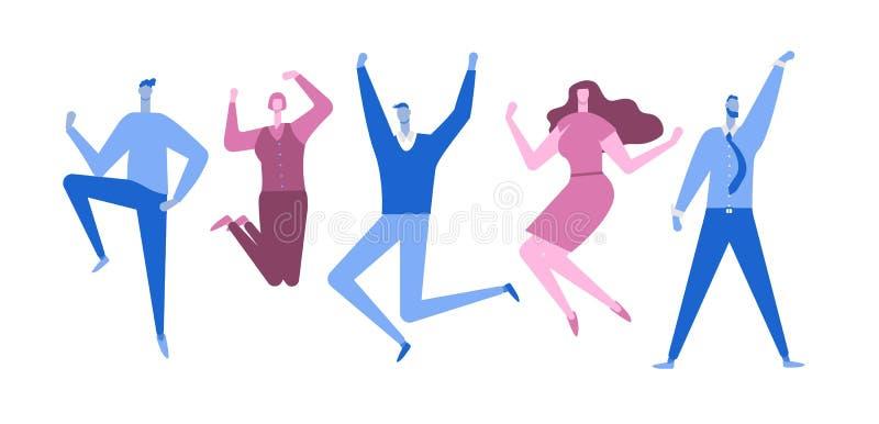 Springende Bedrijfsmensen Gelukkige mensen Vlakke stijl Vector illustratie stock illustratie