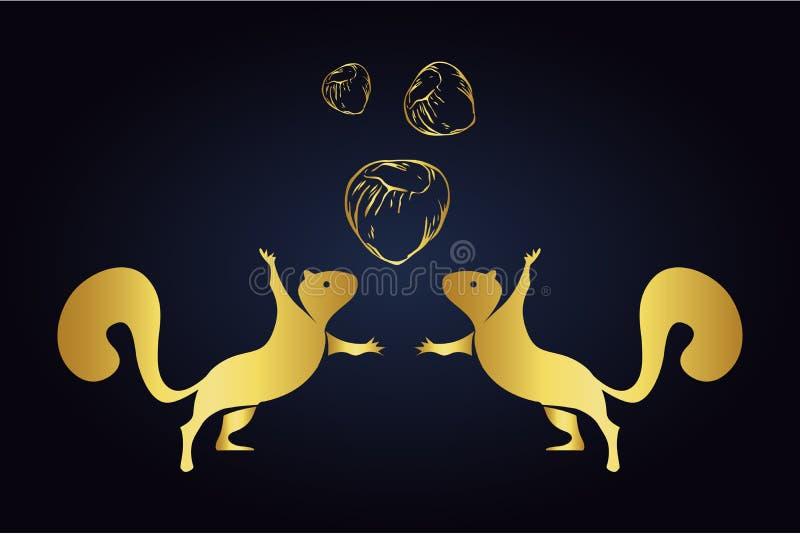 Springende die eekhoornssilhouetten en hazelnoten op donkere achtergrond worden geïsoleerd Embleem van eekhoorns met drie noten i vector illustratie