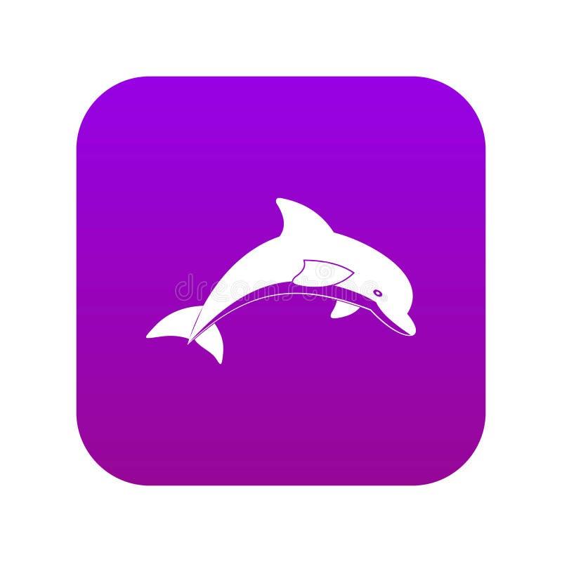 Springende digitale purple van het dolfijnpictogram royalty-vrije illustratie