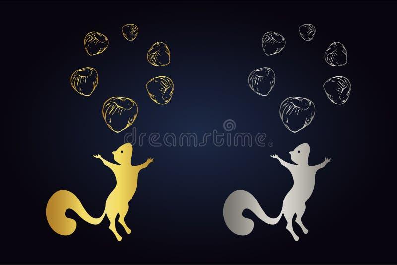 Springende eekhoornsilhouet en cirkel van hazelnoten op bovenkant Embleemreeks van eekhoorn met zes noten in gouden en zilveren k royalty-vrije illustratie