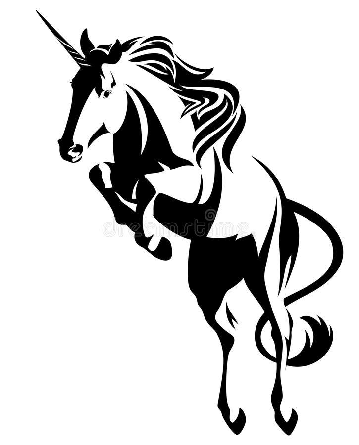 Springende eenhoorn - mythisch paard zwart vectorontwerp vector illustratie