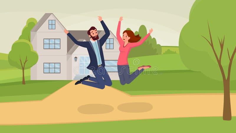 Springende flache Vektorillustration der Paare Mann- und Frauenzeichentrickfilm-figuren, die den Spaß, das Bewegen in neues Haus  vektor abbildung