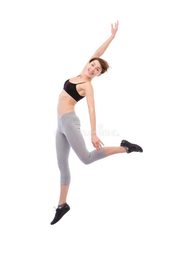 Springende Frau lizenzfreies stockbild