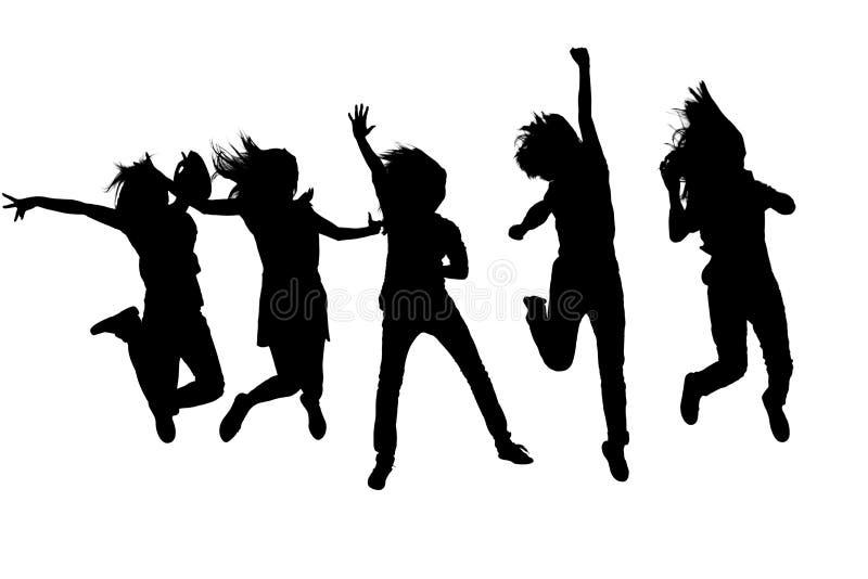 Springende Frauen lizenzfreie stockfotografie