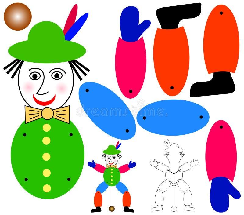 Springende hefboommarionet vector illustratie