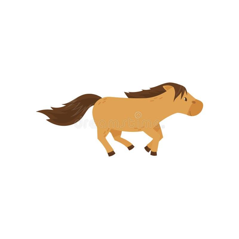 Springende Illustration Vektor des schönen braunen Pferdeponys auf einem weißen Hintergrund vektor abbildung