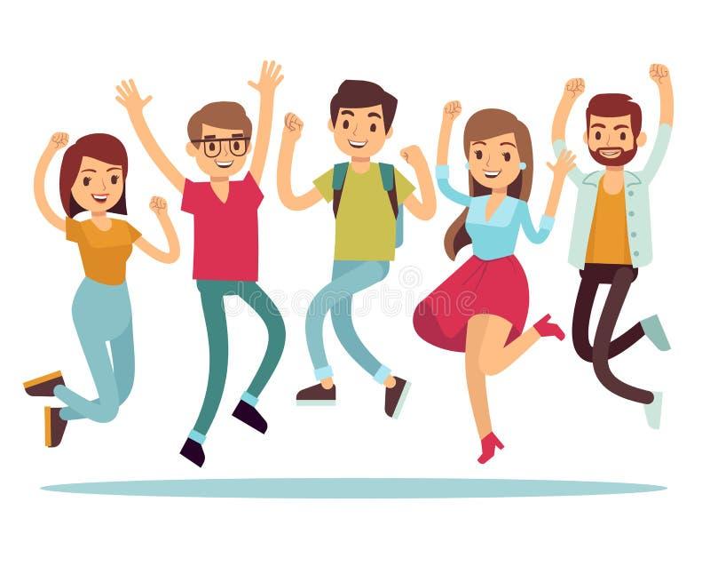 Springende jonge gelukkige mensen in vrijetijdskleding Vlakke vectorset van tekens stock illustratie