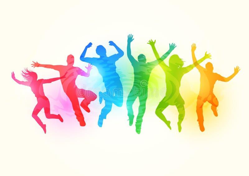 Springende Jonge Volwassenen stock illustratie