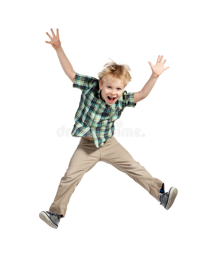 Springende jongen royalty-vrije stock foto