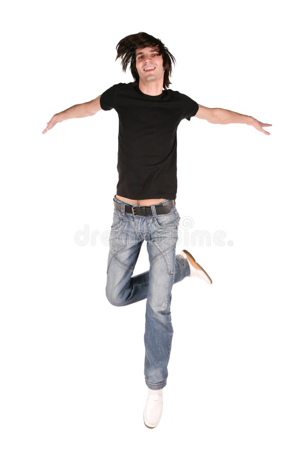 Springende jongen in zwarte royalty-vrije stock foto