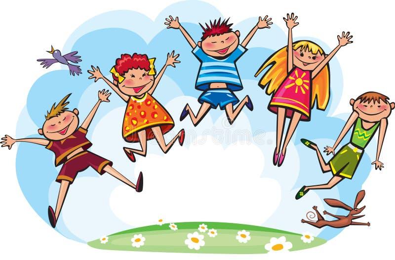 Springende Kinder vektor abbildung. Illustration von ...