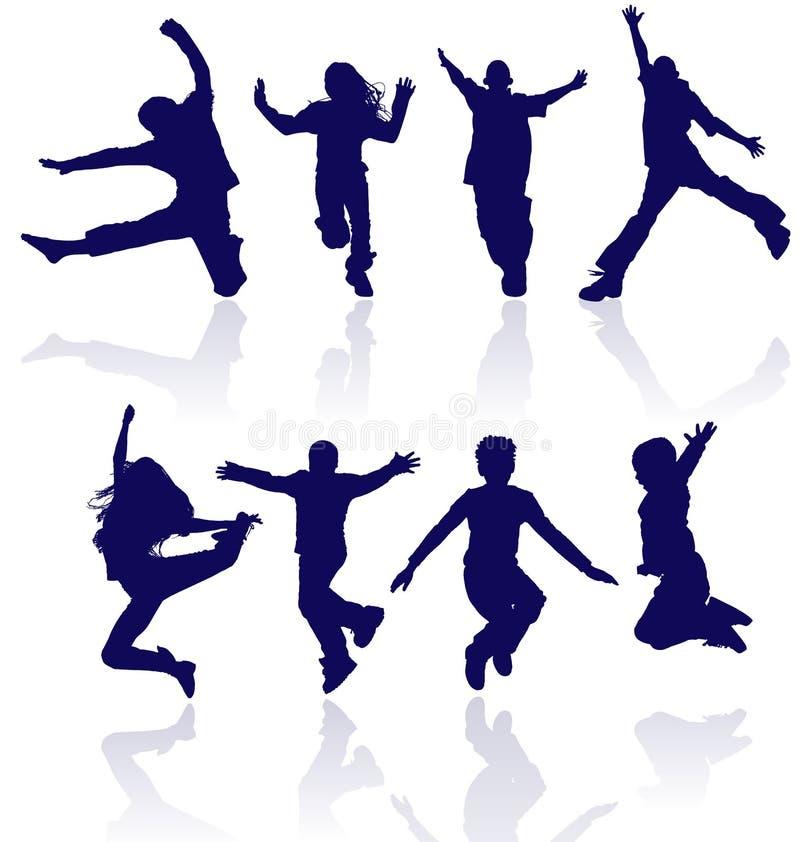 Springende kinderen. royalty-vrije illustratie