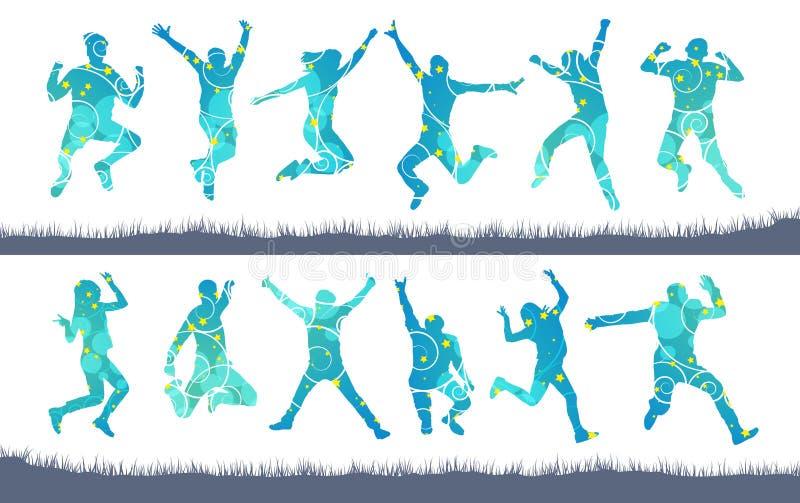 Springende Leuteschattenbilder von Männern und von Frauen vektor abbildung