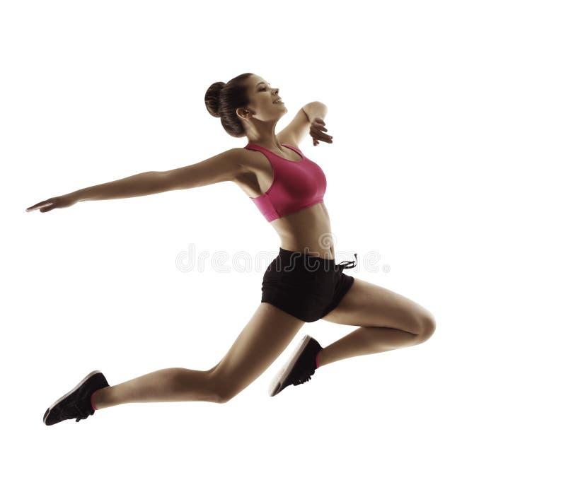 Springende Sport-Frau, glückliches Eignungs-Mädchen im Sprung, aktive Leute stockbild