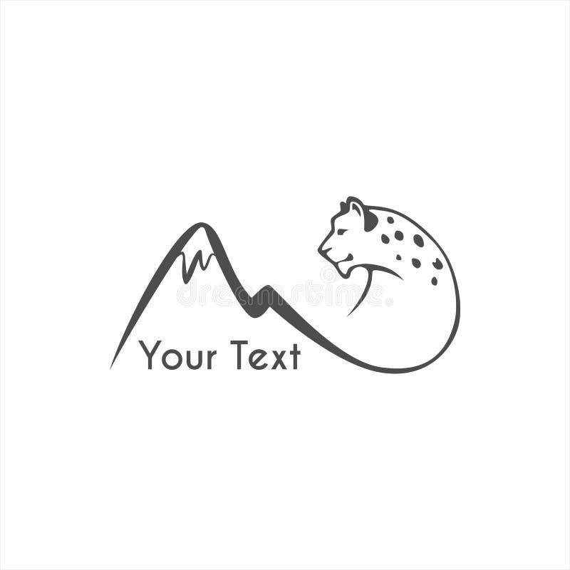 Springende van het het embleemteken van de sneeuwluipaard het embleem vectorillustratie vector illustratie