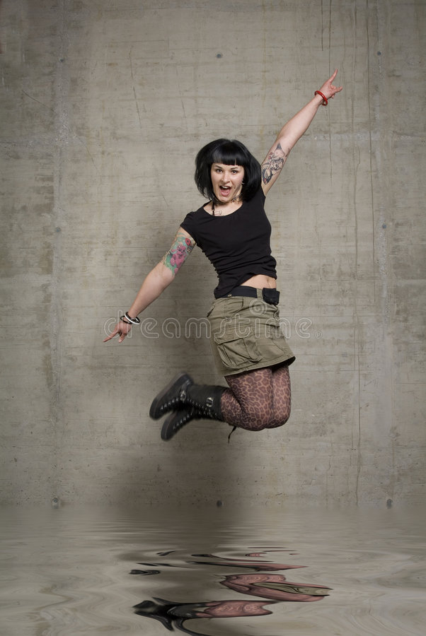 Springende Vrouw Stock Afbeelding