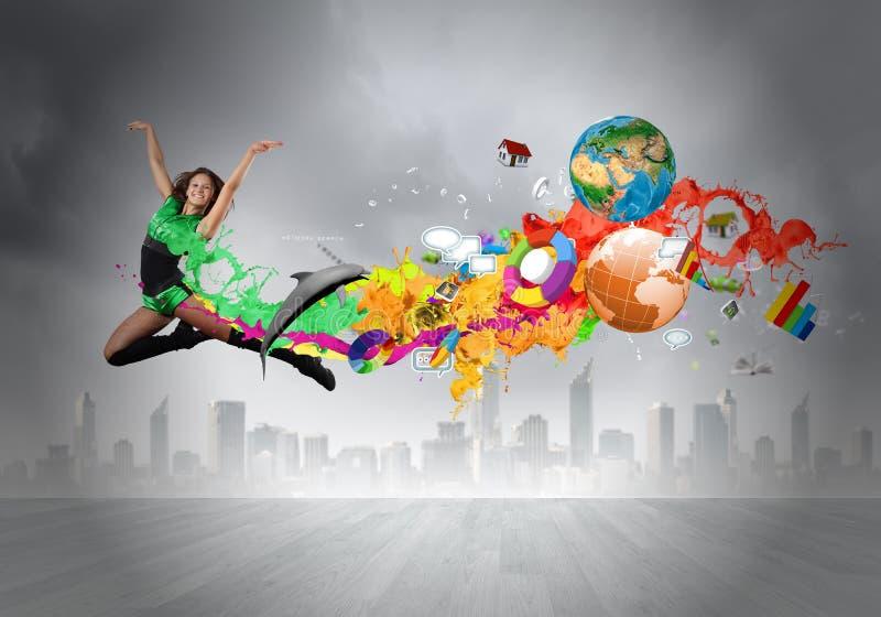 Springende vrouw stock illustratie
