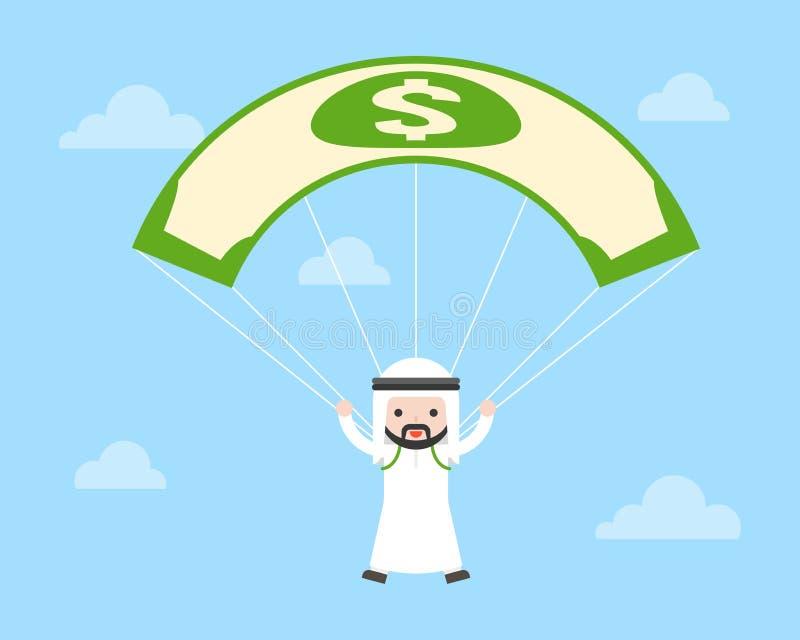 Springender Fallschirm des netten arabischen saudischen Kerls durch die Anwendung des Dollarscheins in SK lizenzfreie abbildung