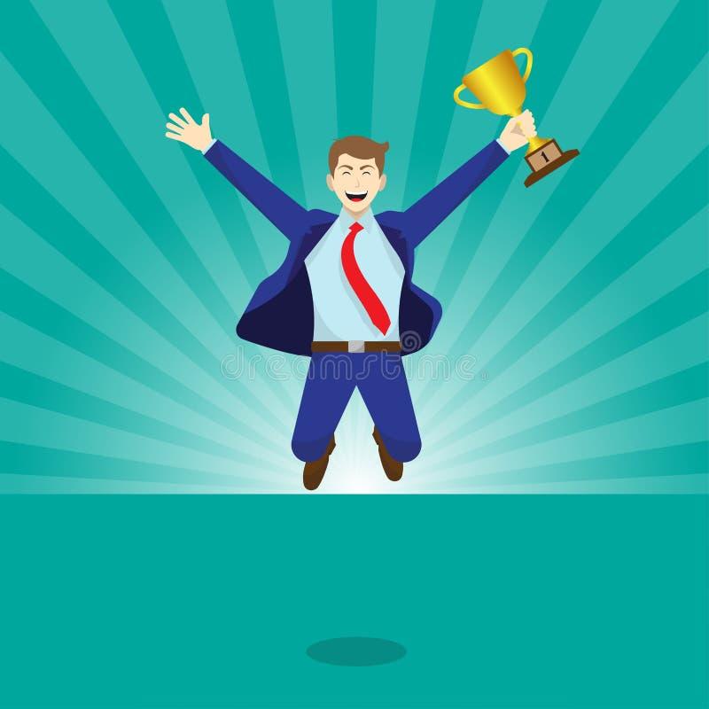 Springender Geschäftsmann Holds eine goldene Trophäe stock abbildung