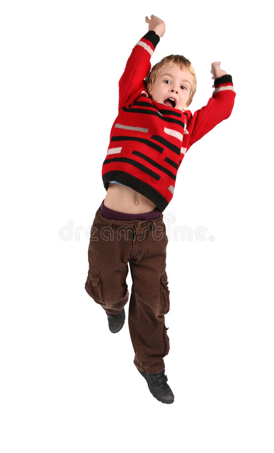 Springender Junge lizenzfreie stockbilder