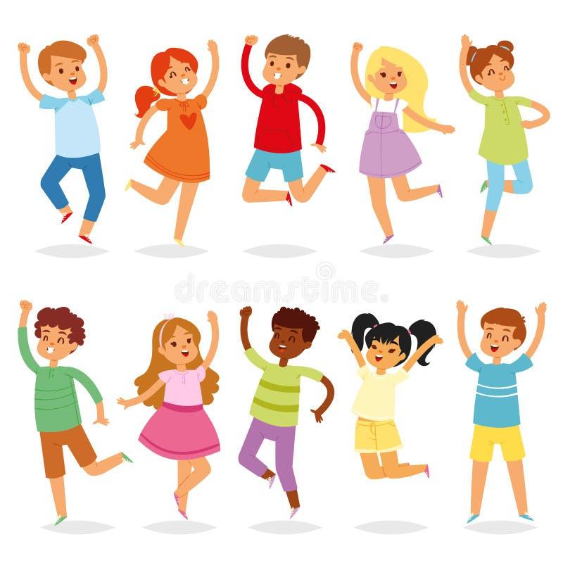 Springender Kindervektoryong-Kindercharakter in der Sprungstätigkeit im Kindheitsillustrationssatz spielerischen Kindern und Lach stock abbildung