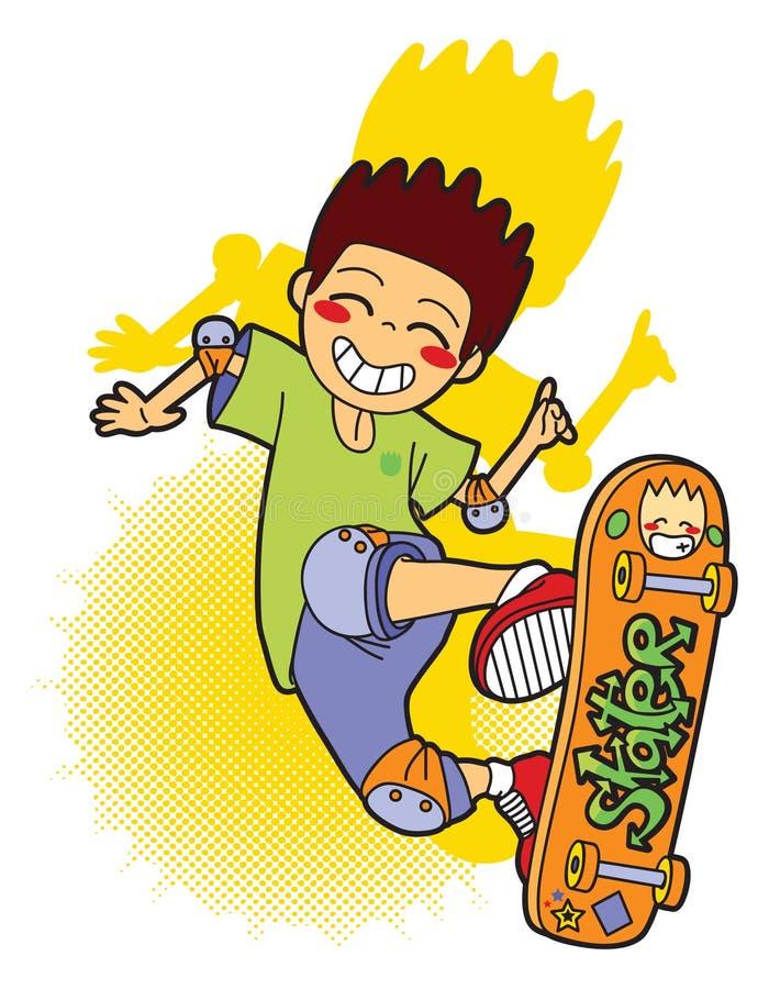 Springender Schlittschuhläufer mit seinem Skateboard lizenzfreie abbildung