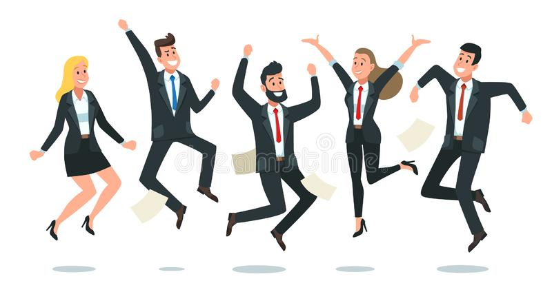 Springendes Geschäftsteam Büroangestellte springen, sprangen glückliche Unternehmenskollegen zusammen und Teamwork-Spaßvektorkari vektor abbildung
