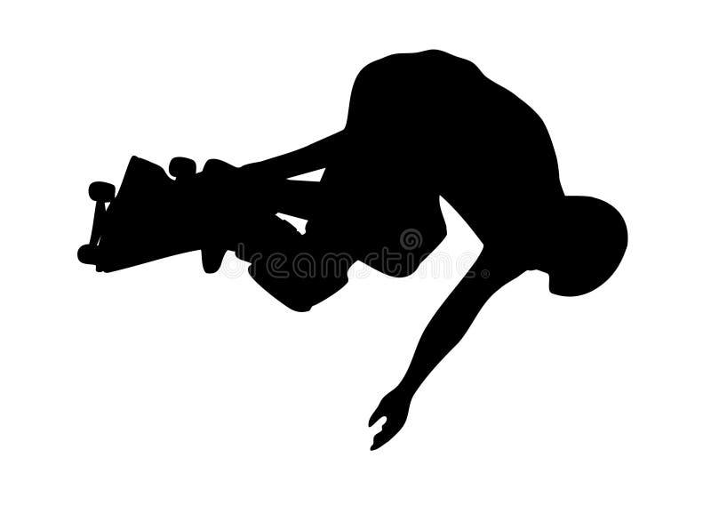 Springendes Schlittschuhläuferschattenbild stock abbildung