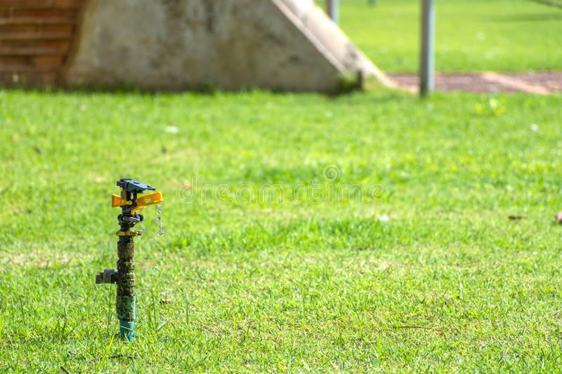 Springer to water the plants with water leak or water run slowly. In grass land stock photos
