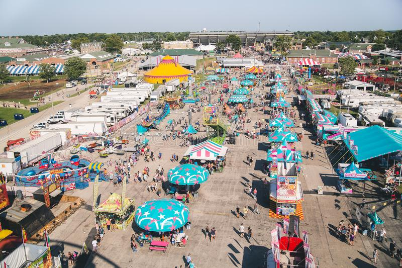 Illinois State Fairgrounds carnival midway. SPRINGFIELD, IL, UNITED STATES - August 19, 2017: Birds eye view of the Illinois State Fairgrounds carnival midway royalty free stock images