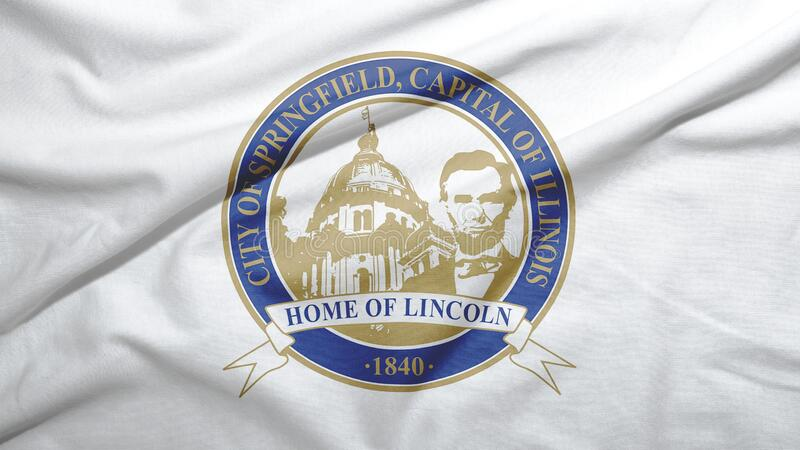 Springfield of Illinois of United States flag background. Springfield of Illinois of United States flag on the fabric texture background stock illustration