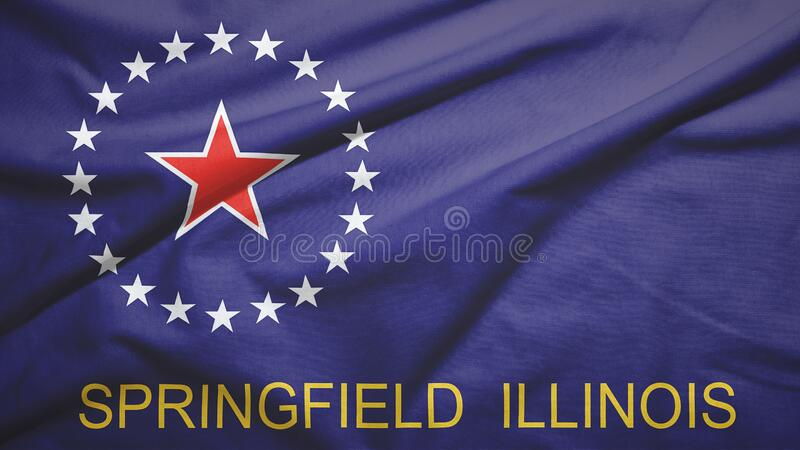 Springfield of Illinois of United States flag background. Springfield of Illinois of United States flag on the fabric texture background vector illustration