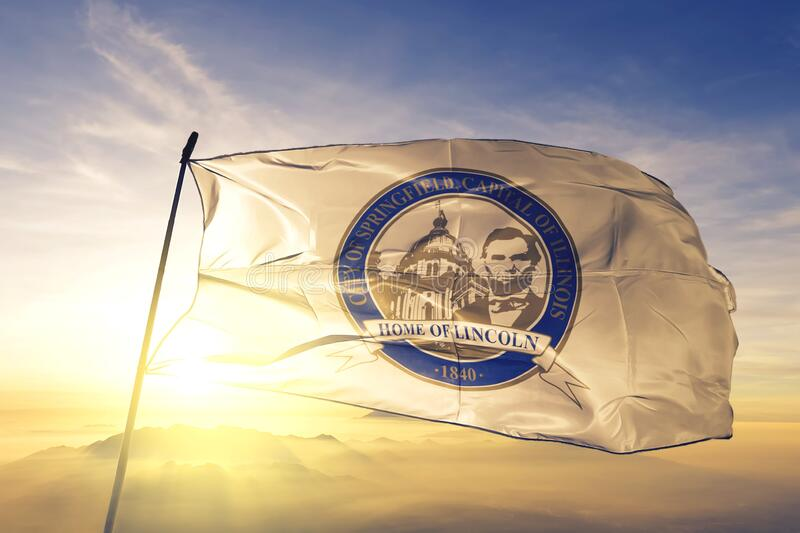 Springfield of Illinois of United States flag waving on the top. Springfield of Illinois of United States flag waving stock image