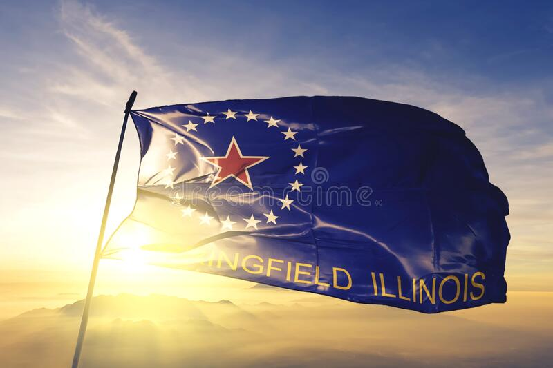 Springfield of Illinois of United States flag waving on the top. Springfield of Illinois of United States flag waving royalty free stock image