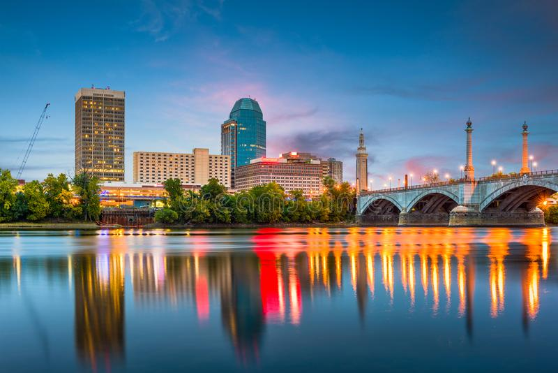 Springfield, Massachusetts, orizzonte di U.S.A. immagine stock libera da diritti