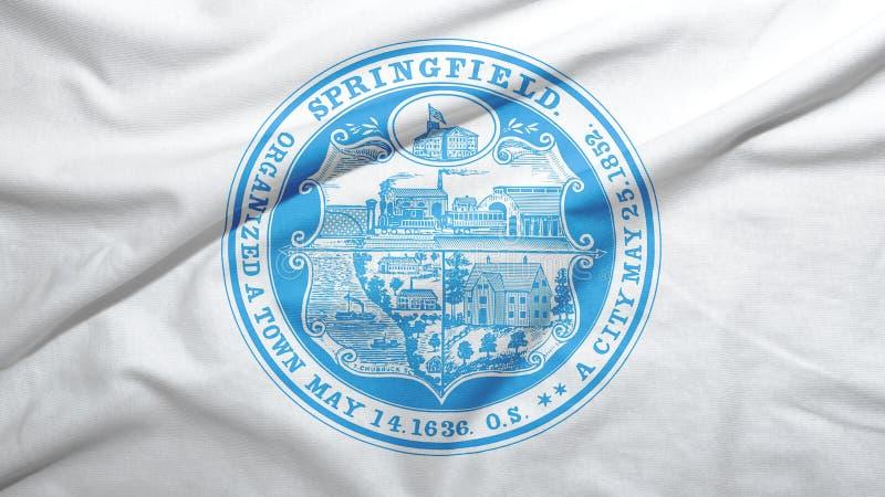 Springfield of Massachusetts of United States flag background. Springfield of Massachusetts of United States flag on the fabric texture background royalty free illustration