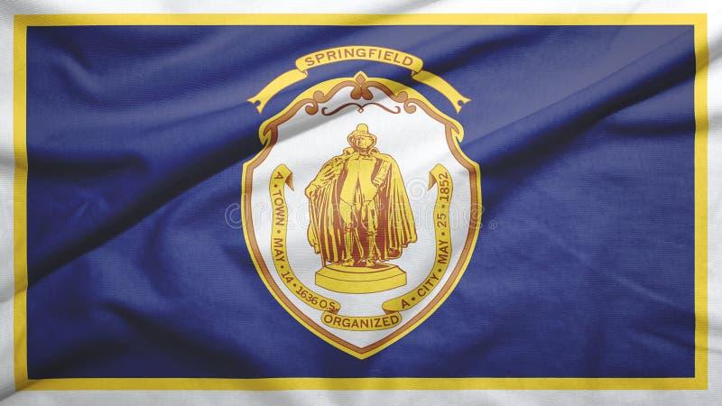 Springfield of Massachusetts of United States flag background. Springfield of Massachusetts of United States flag on the fabric texture background stock illustration