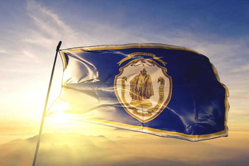 Springfield of Massachusetts of United States flag waving on the top. Springfield of Massachusetts of United States flag waving stock photos