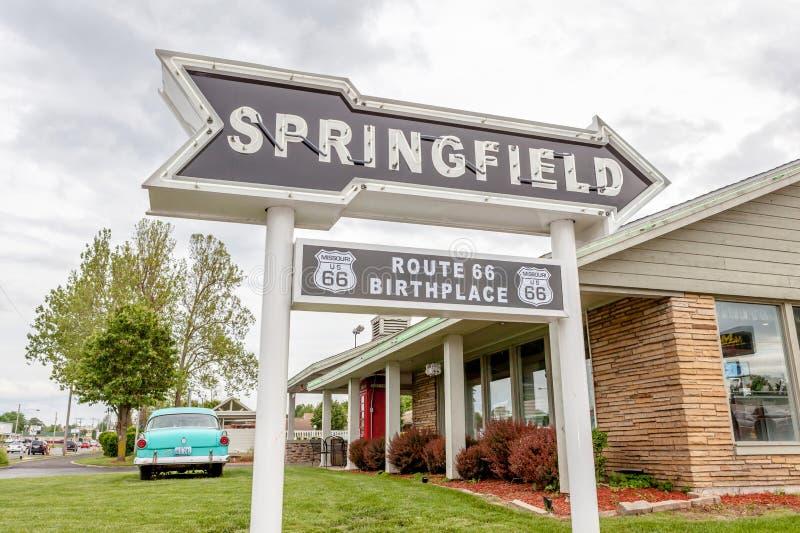Springfield Missouri, USA- May 18, 2014. Springfield road arrow stock photos