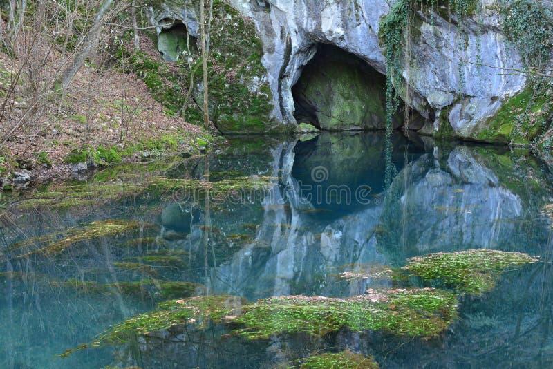Springhead van de rivier en het hol van Krupaja royalty-vrije stock afbeeldingen