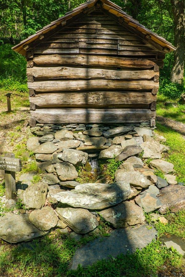 Springhouse на утесах горба обрабатывает землю музей стоковые изображения