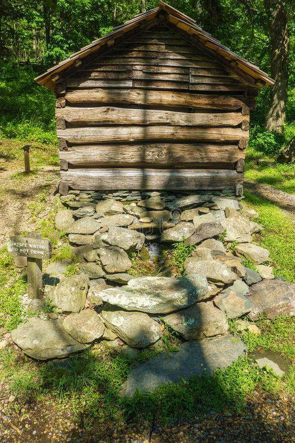 Springhouse на утесах горба обрабатывает землю музей стоковая фотография
