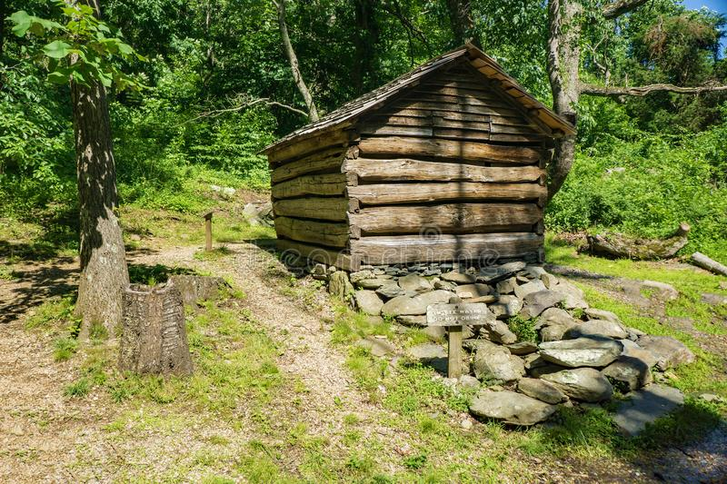 Springhouse at the Humpback Rocks Farm Museum. Waynesboro, VA, June 11th: A springtime view of a country lane at the Humpback Rocks Farm Museum located at royalty free stock images