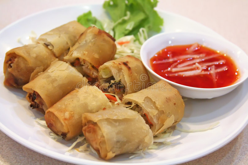 Springrolls chineses fotos de stock royalty free